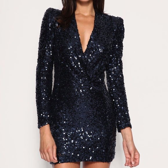 French Connection Dresses & Skirts - french connection navy sequin long sleeve dress